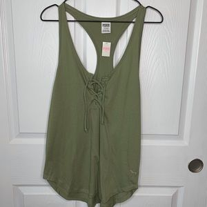 Green Tie Front Tank by Pink Victoria Secret